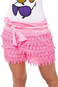 Sexy-Miss-Ladies-Crochet-Hot-Pant-Shorty-Shorts-Neon-Pink-Freesize-34-36-38