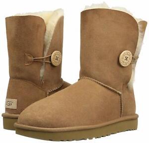 7e2d451eb4e Details about Women's Shoes UGG BAILEY BUTTON II Twinface Sheepskin Boots  1016226 CHESTNUT