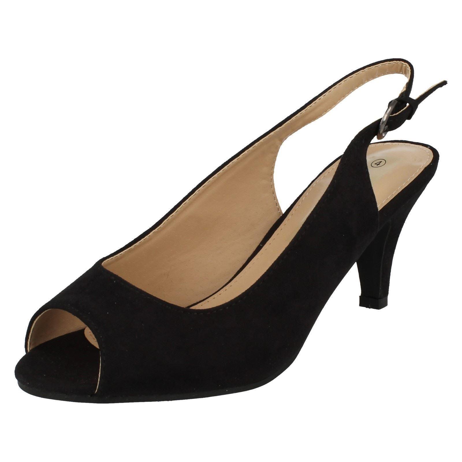 Anne Michelle F1R0593 Ladies Black Sling Back Peep toe Wide Fit shoes (R36B)