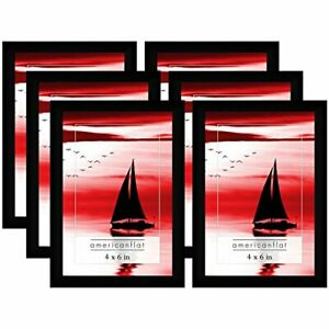 Americanflat Picture Frame Black Plastic 4x6 5x7 8x10 Wall Tabletop 6 or 12 Pack