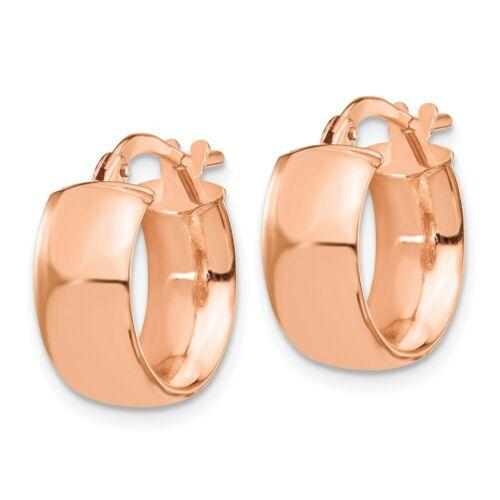 Details about  /Leslie/'s Real 14kt Rose 6mm High Polished Hoop Earrings