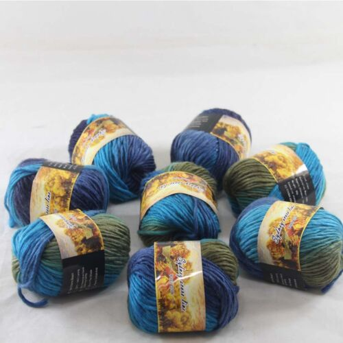 SALE 8 Skeins x 50gr NEW Chunky Colorful Hand Knitting Wool Yarn 822 Blue Royal