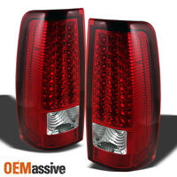 Fits 03-06 Silverado 04-06 Gmc Sierra Truck Red Clear Led Tail Lights Left+right