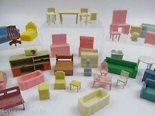 Vtg Lot Plastic Doll House Furniture Mattel Marx Allied Tomy Superior Renwal FP