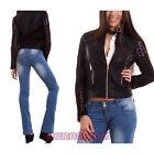 Giacca donna giacchetto giubbino ecopelle traforato pizzo zip sexy nuovo DJ963