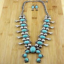 Southwestern Navajo Tribal Squash Blossom Necklace Bundle: Necklace, & Bag