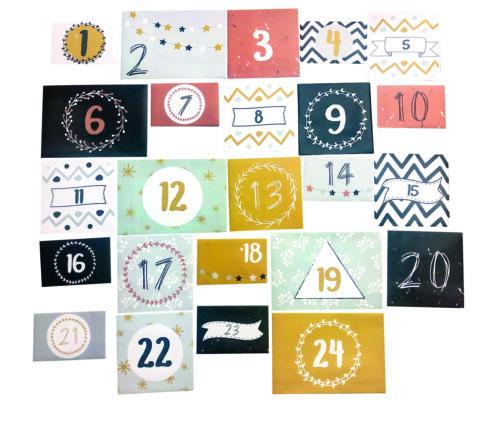 MegaCrea DIY Kit avec Enveloppe numérotée pour calendrier de l/'avent 24 pièces