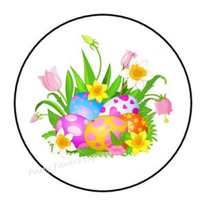 """48 HAPPY EASTER BUNNY ENVELOPE SEALS LABELS STICKERS 1.2/"""" ROUND"""