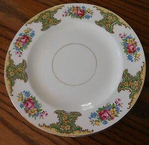 "Platos Washington Pottery Hanley Flor Rose China Vintage 1940s 50s 10""  </span>"