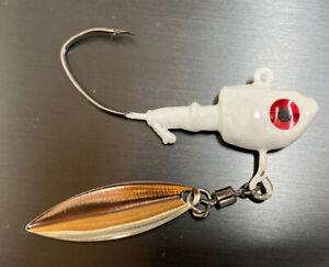 10 1//4 Oz Underspin Minnow Head Jigs Barb /&collar 3//0 Hook #3 Blade