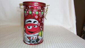 "2013 Merry Christmas M & M's Red As Santa  Decorative Round Metal Tin 6"" Tall"