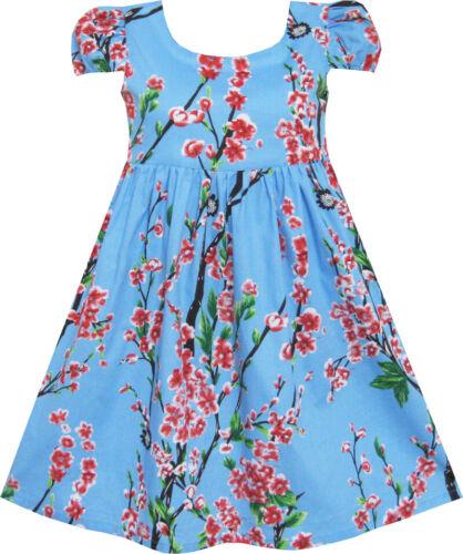 Girls Dress Chinese Plum Flower Print Princess Blue Age 3-10 Years UK STOCK !