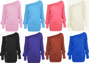 Womens-Long-Sleeve-Batwing-Top-Off-Shoulder-Plain-Tunic-T-Shirt-Top-8-14