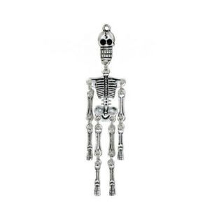 2-Stuck-3D-Halloween-Zinklegierung-Anhanger-Skelett-Schadel-Antiksilber-P-D
