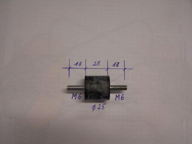 Tampon Amortisseur de vibrations en caoutchouc d=25 / M6 L = 18/25/18