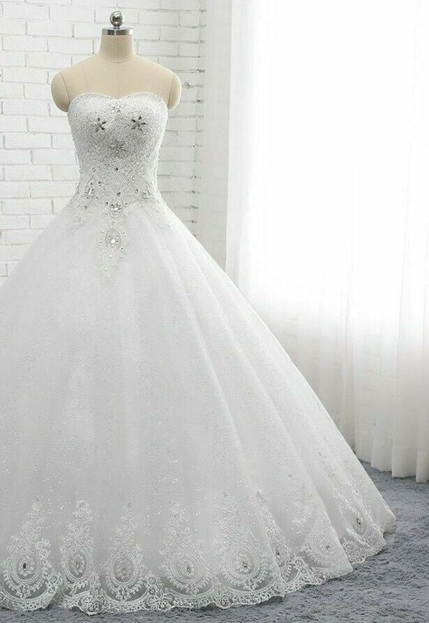 Wedding Dresses Bridal Ball Gowns Plus Size Off Shoulder Crystal Beading Lace Up