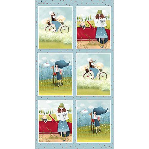 "Kori Kumi Traveler Girl Bunny Bike Cotton Fabric QT The Traveller 24/""X44/"" Panel"