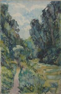 Daniel-DUVILLE-Lyons-la-Foret-Aquarelle-vers-1950