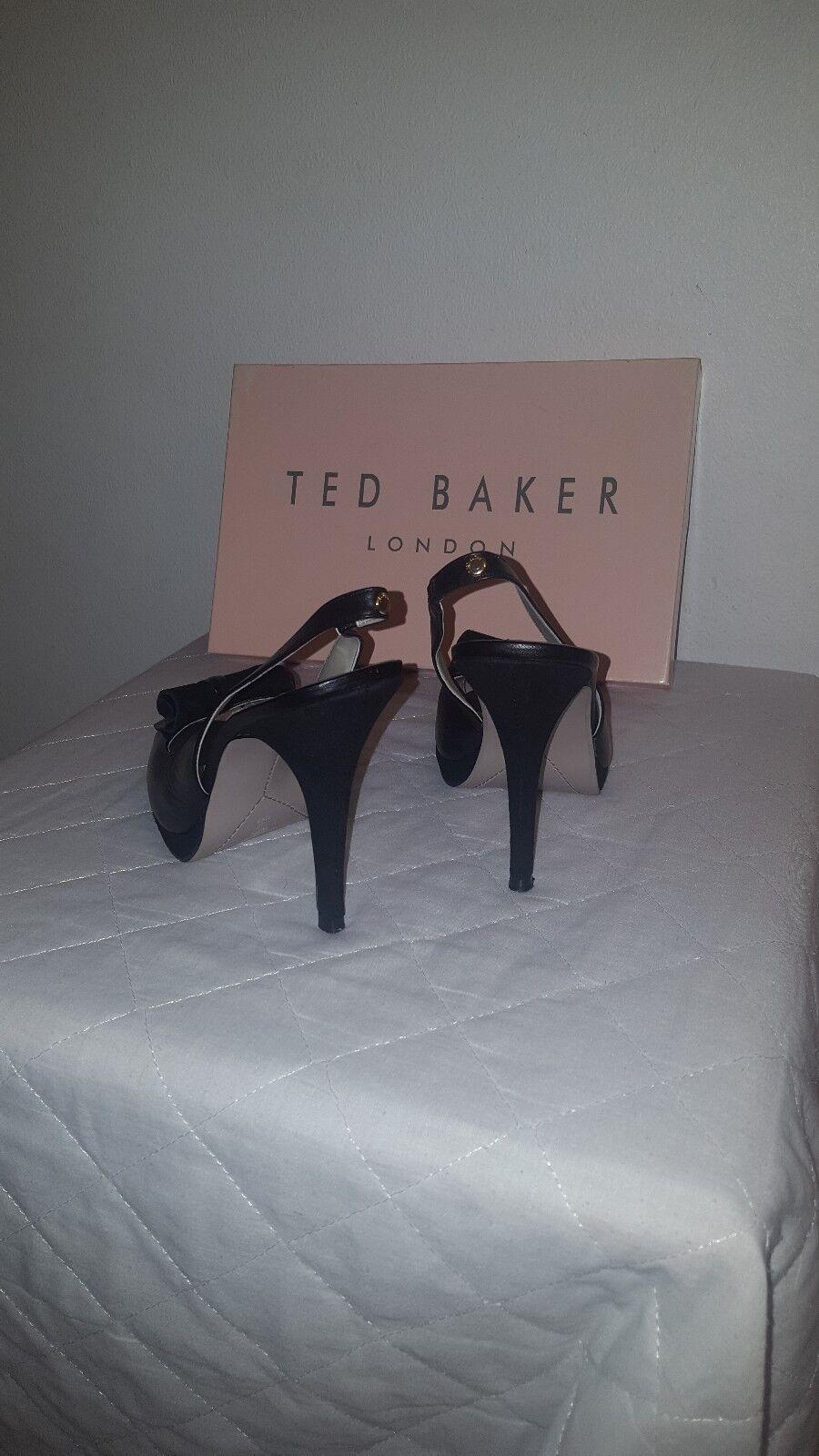 Black leather Ted Baker peep toe sling back 5inch heel size 7 shoe