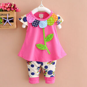 New 2pcs baby girls clothes tops pants set outfits spring suit clothes