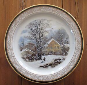 Image is loading Lenox-1987-Currier-&-Ives-Winter-in-the- & Lenox 1987 Currier u0026 Ives Winter in the Country Christmas Plate NWT ...