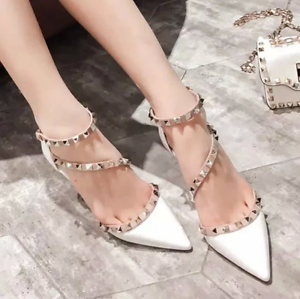 Womens-Rivets-Pointed-Toe-Stilettos-Sandals-Mid-Heels-Studded-Ankle-Strappy-D251