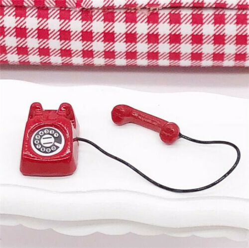 1:12 Dollhouse Miniature Furniture Accessories Vintage Red Telephone Landscape *