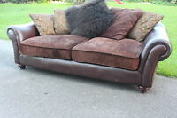 Barker and Stonehouse leather & fabric 3 seater sofa