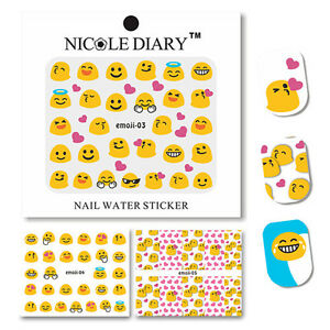 2-Sheets-Nail-Art-Water-Transfer-Decal-Manicure-Sticker-Lovely-Emoticon-Theme