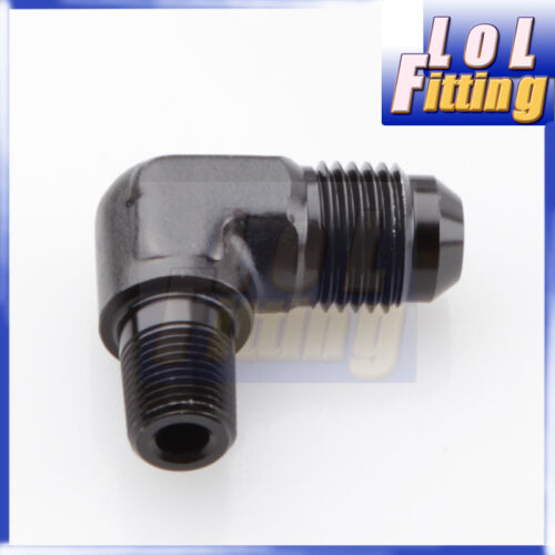 """6 Male to 1//2/"""" NPT 90 Degree Aluminum Fuel Adapter Fittings Black AN6 6AN AN"""