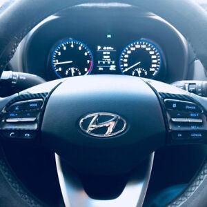 2tlg-ABS-Carbon-Look-Lenkrad-Blenden-Rahmen-Abdeckung-fuer-Hyundai-Kona-ab-2017