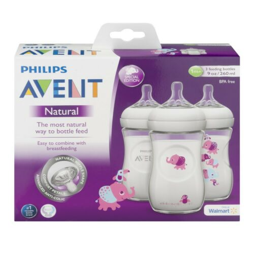 Philips Avent Natural Baby Bottle 3 Pink Elephants Design 9oz  3pk  DISCONTINUED