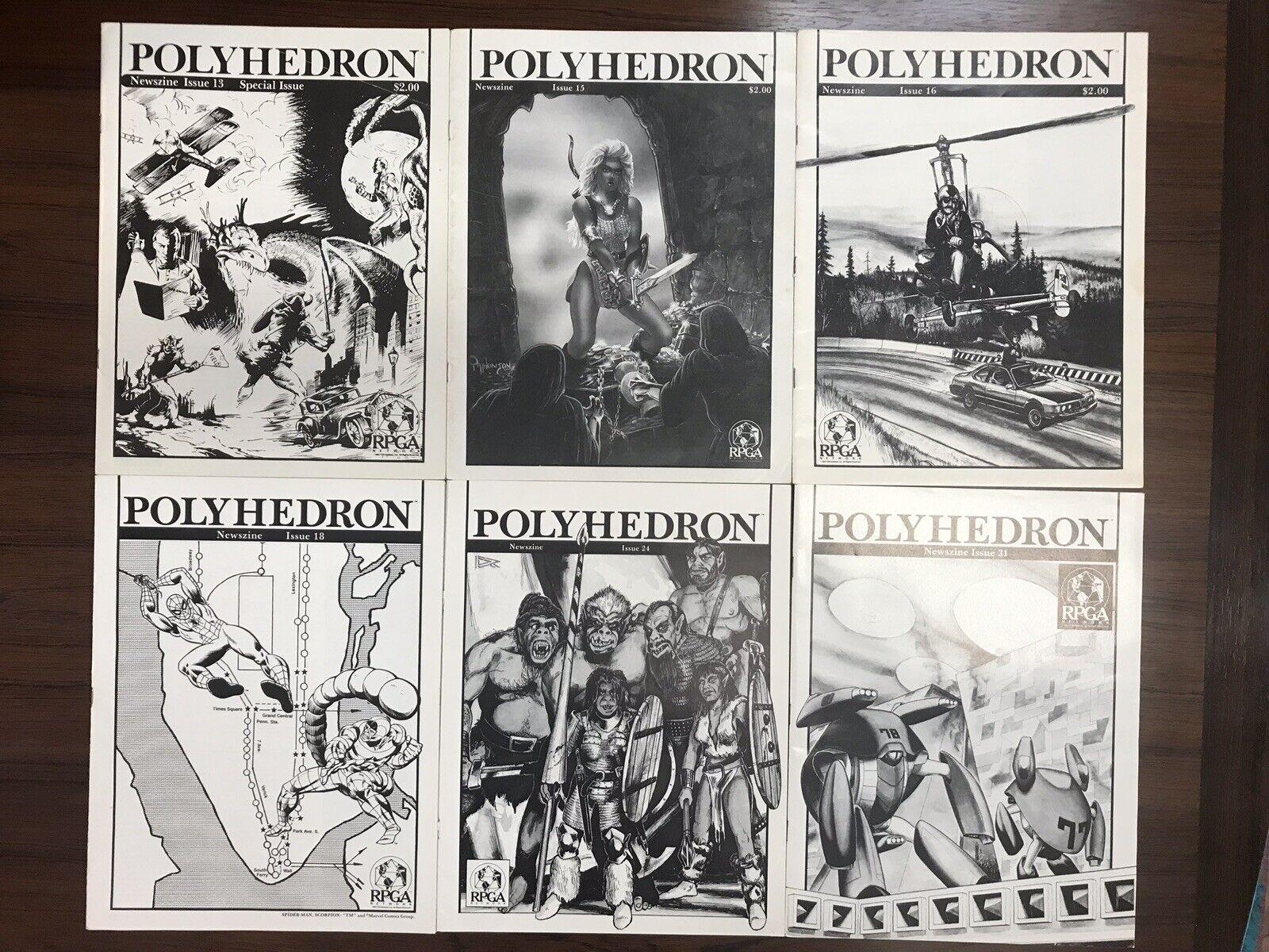 massa av sex Polyhedron magazines RPGA 13 15 18 24 31 D&D roll spelar Marvel