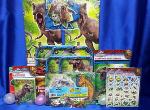 Details About Jurassic World Party Set 18 Plates Napkins Tablecloth Invites Thanks Stickers