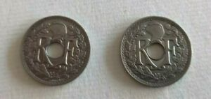 Set 2 Pieces 25 CENTIMES 1914 And 1915 Soulignees REF64692
