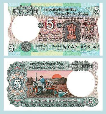 INDIA 5 RUPEES P 80 i SIGN 83 UNC W//H