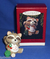Hallmark Ornament Grandchild's First Christmas 1993 Baby Raccoon With Rattle