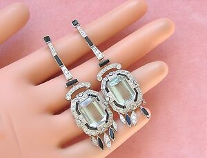 5e2627d1eeae3 Details about ESTATE ART DECO DIAMOND AQUAMARINE ONYX PLATINUM LONG  COCKTAIL FANCY EARRINGS