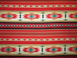 Navajo-Indian-Red-Teal-Border-Native-American-Print-Cotton-Fabric-FQ