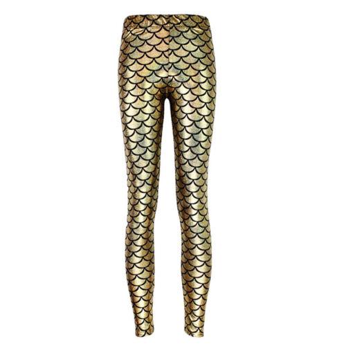 Fish Scale Printing Stretch Thin Shiny Mermaid Printing Leggings Pants