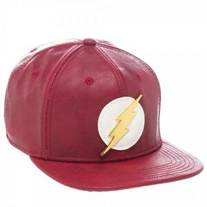 d611f31d DC Comics The Flash Faux Leather Snapback Hat Cap Red w/ Metal Logo ...