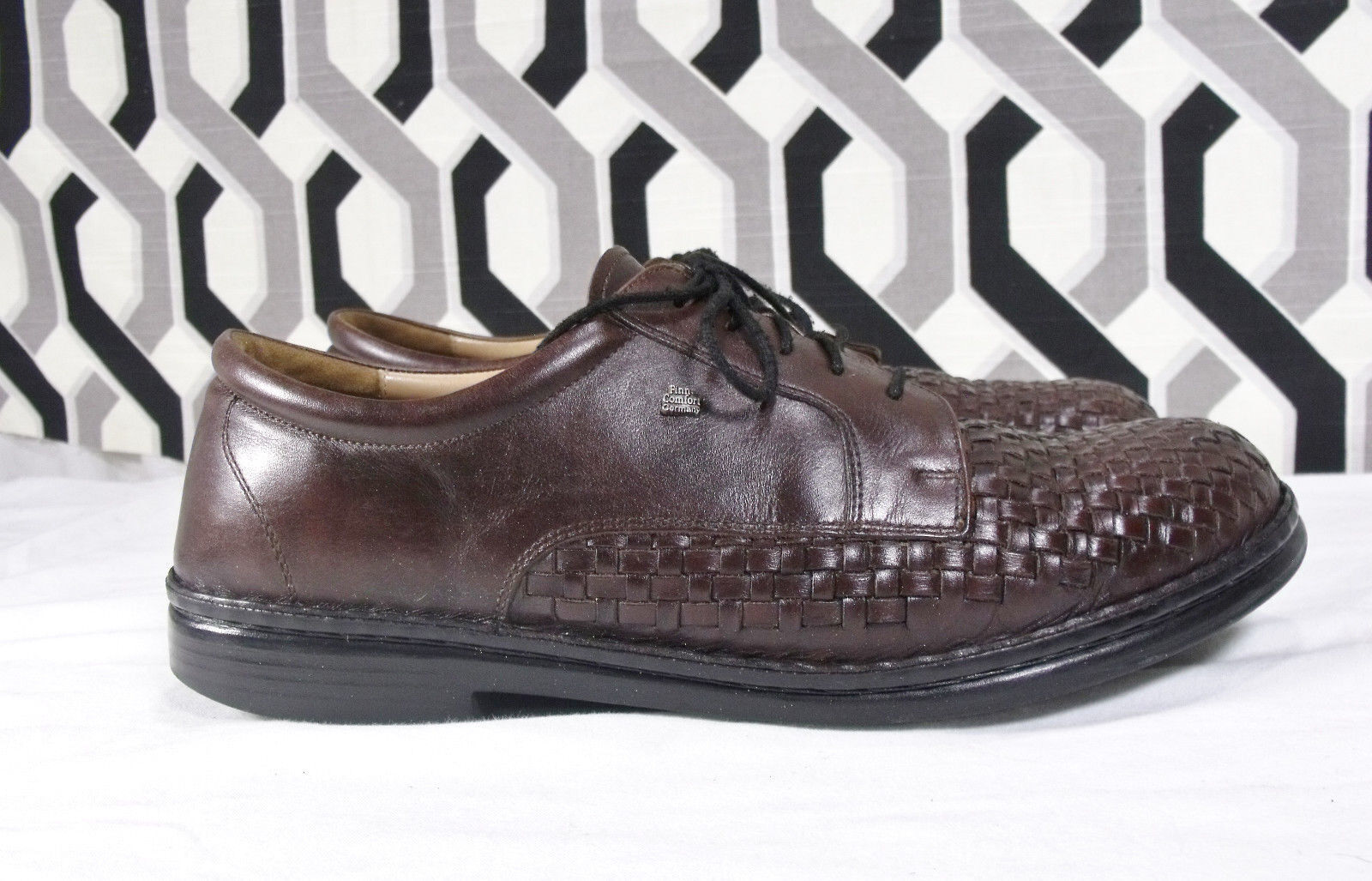 Finn Comfort Brown Woven Leather Lace Up Oxfords Sz US 9.5