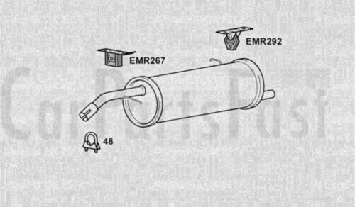 Exhaust Rear Box Citroen C3 1.4 Diesel Convertible 04//2004 to 09//2005