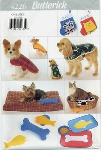 Butterick-4226-DOG-CAT-Pet-Coats-Stocking-Bed-Placemat-Toy-sewing-pattern-UNCUT