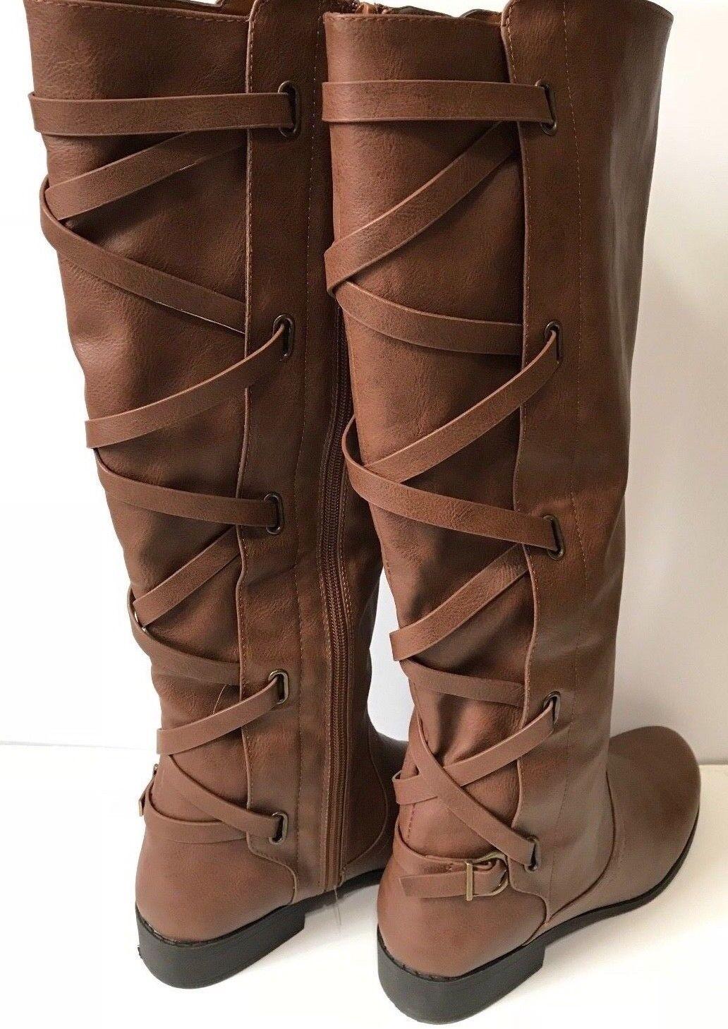 New Women  Cognac Brown Black Buckle Riding Knee High Cowboy Boots 9.5