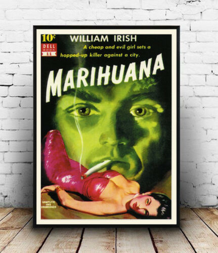 Wall art. Vintage Pulp book cover Reproduction poster Marihuana