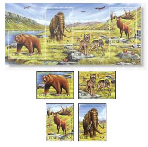 IRL9918-Prehistoric-animals-4-pieces-SS-MNH-IRELAND-1999