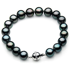 New-10-12mm-Tahitian-Black-Pearl-Diamond-Bracelet-Pacific-Pearls-Birthday-Gifts