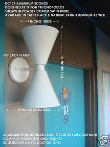 DC137-DOUBLE-CONE-ALUMINUM-WALL-SCONCE-LIGHT-FIXTURE-MCM-MADE-IN-U-S-A-WHITE