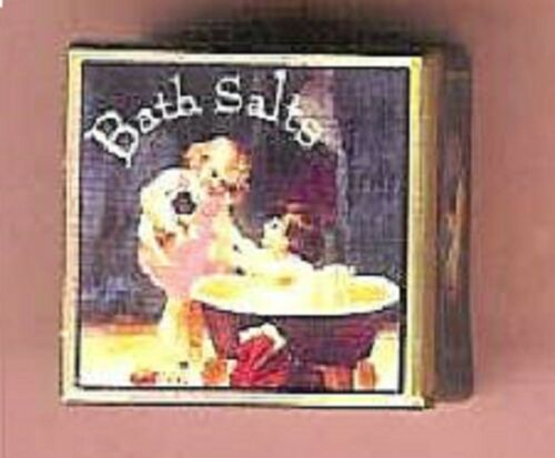 DOLL HOUSE MINIATURE TIN VINTAGE BATH SALTS CHILD CAT Fill w// Candy Cookie Sale